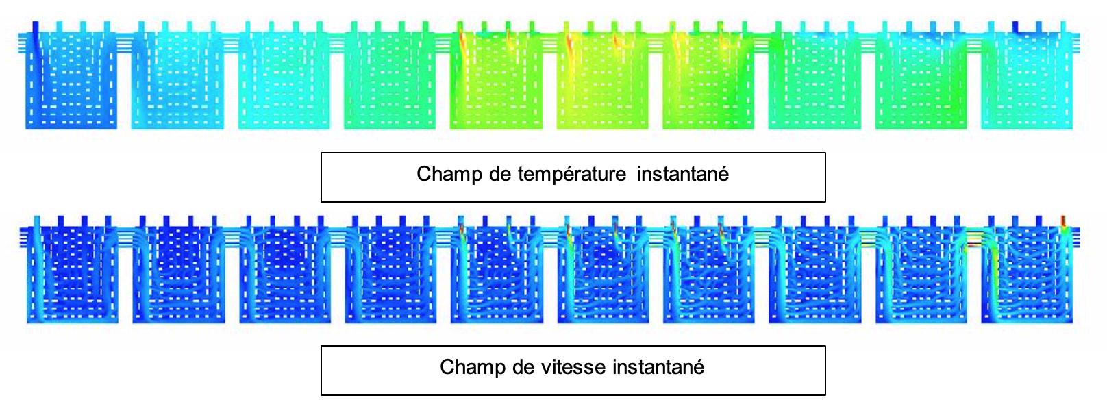 Vues du champ de température et de vitesse dans le plan de symétrie du four